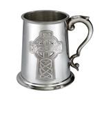 269 Embossed Celtic Cross 1 pint Pewter Tankard