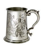Fishing Scene 1 pint pewter Tankard