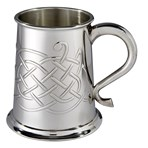 Jura celtic embossed 1 pint pewter tankard