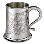 Skye celtic embossed 1 pint pewter tankard