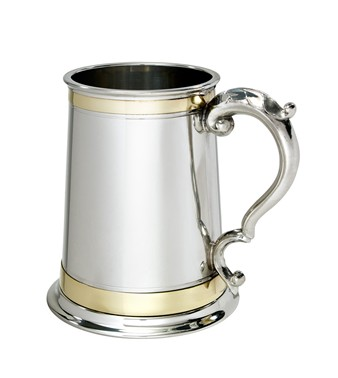 1 pint Double Brass Band Monarch Pewter Tankard