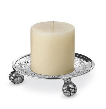 Pewter engraved footed candle holder