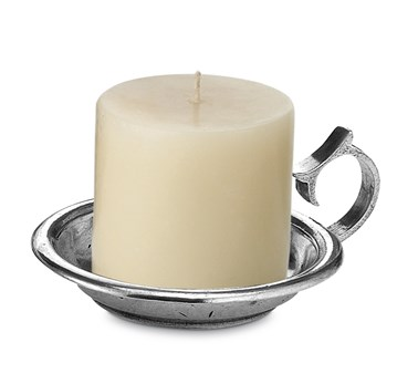Pewter candle holder with handle