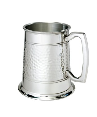 Half Hammered 1 pint pewter Tankard