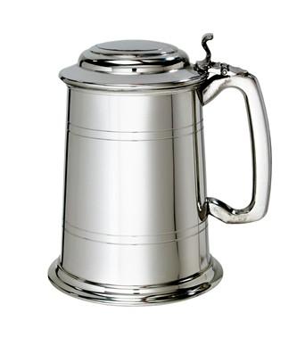 Standard Lidded 1 pint pewter Tankard