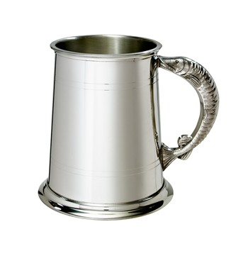 Fish Handle 1 pint pewter Tankard