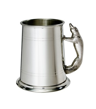 Fox Handle 1 pint pewter Tankard