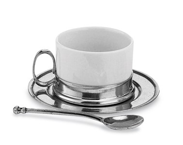 Pewter and ceramic tea cup & saucer with spoon