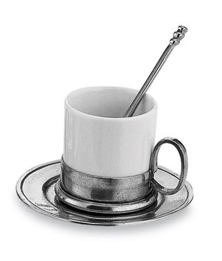 Pewter and ceramic espresso coffee cup & saucer with spoon