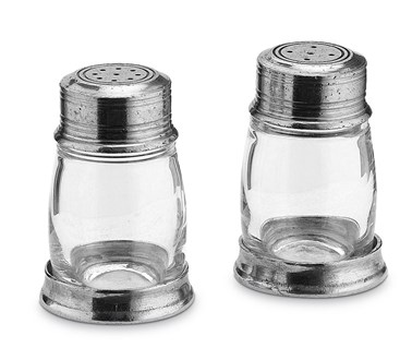 Pewter & glass salt & pepper