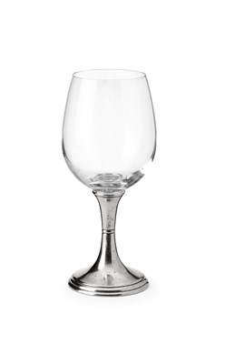 Pewter & glass red wine glass