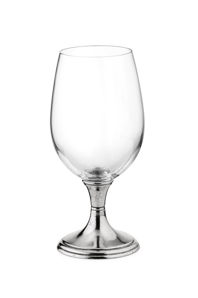 Pewter & glass water goblet