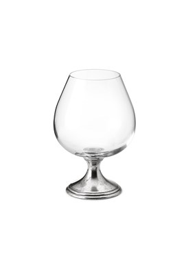 Pewter & crystal cognac glass