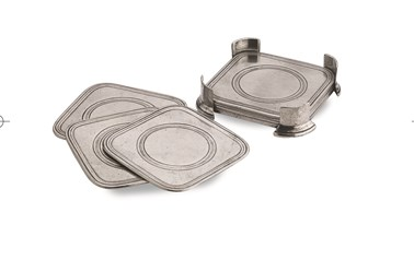 Pewter square coasters in caddy, set of six