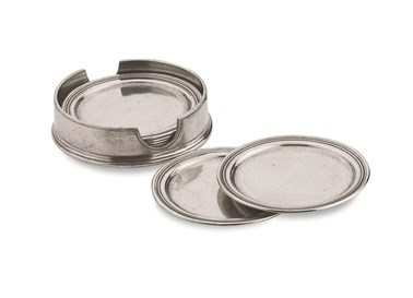 Pewter round coasters with caddy - set of 6