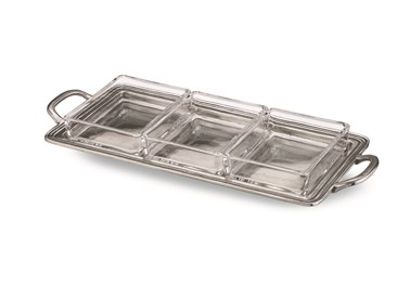Pewter rectangular divided dish