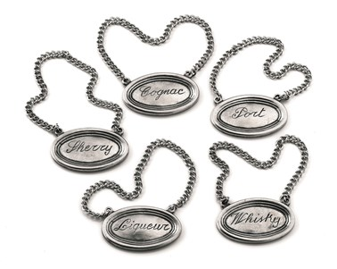 Pewter bottle tags - set of five
