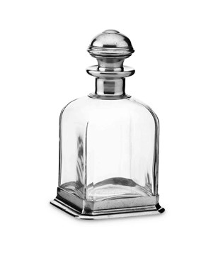 Pewter & glass square whisky bottle