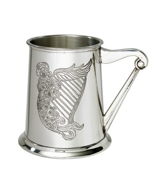 Irish Harp  1 pint pewter Tankard