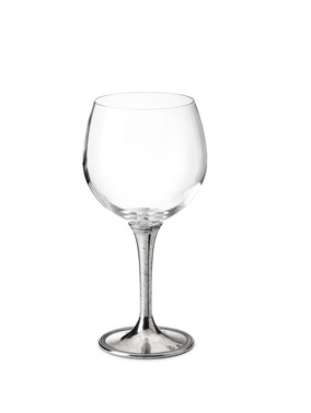 Pewter & glass wine tasting goblet