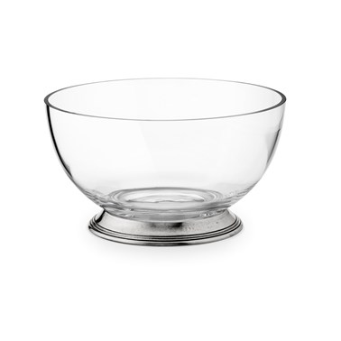 Salad Bowl Glass and Pewter