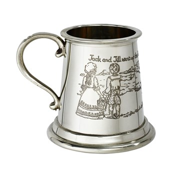 Jack and Jill pewter baby quarter pint Mug