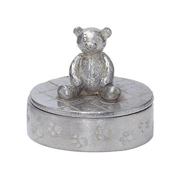 Cast Pewter Teddybear oval Trinket Box