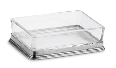 Pewter and crystal butter dish