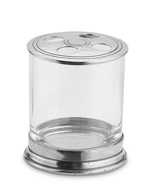 Pewter & Glass Toothbrush holder  with Lid