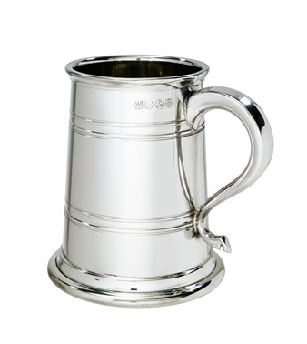 1 pint Heeley Pewter Lined Tankard