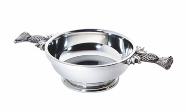 Large Thistle Handle pewter Quaich