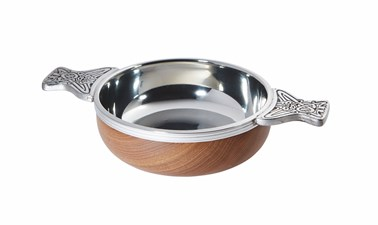Large Wood and pewter Quaich