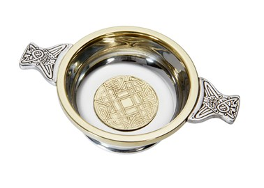 Medium Celtic Gold brass and pewter Quaich