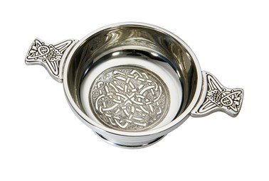 Medium celtic circle pewter quaich