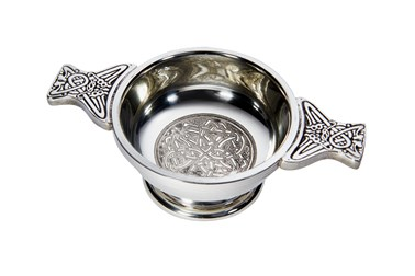 Small celtic circle pewter quaich