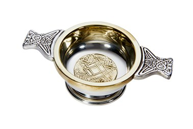 Small Celtic gold Pewter and Brass quaich