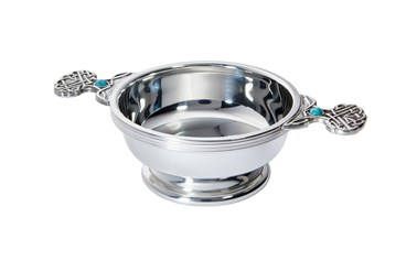 Birthstone pewter quaich december with Turquoise stones