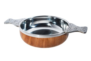 Extra Large Wood and pewter Quaich