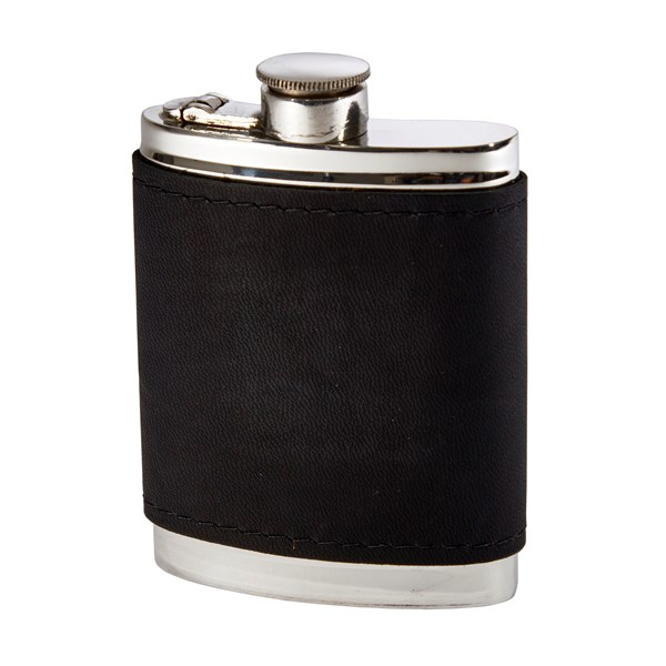 6oz Black Raven Leather Captive Top Pewter Flask