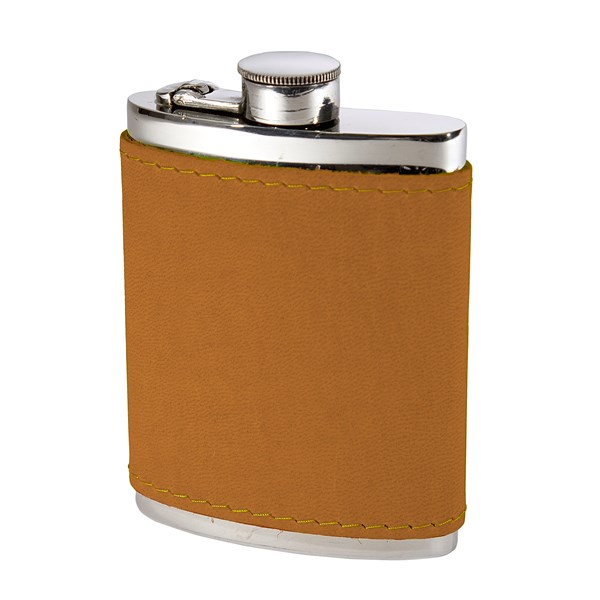 6oz English Tan Leather Captive Top Pewter Flask