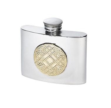 2oz celtic gold  Pewter kidney hip  Flask