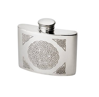 2oz celtic knot Pewter kidney hip  Flask