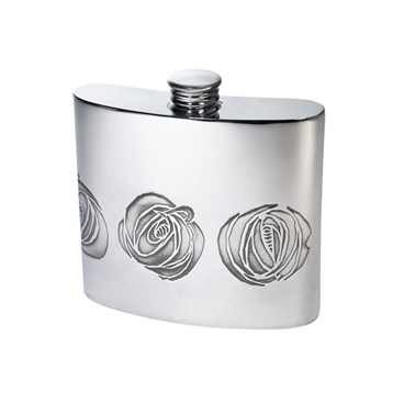 6oz Charles Rennie Mackintosh Rose Pewter Kidney Hip Flask