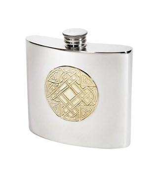 6oz celtic gold pewter kidney hip flask