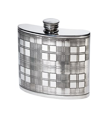 6oz tartan pewter kidney hip flask