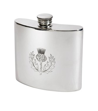 6oz Thistle pewter kidney hip flask