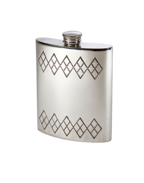 6oz Argyle Pattern Pewter Kidney Hip Flask