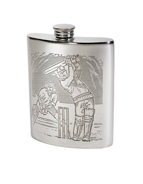 6oz Cricket Scene Pewter Kidney Hip Flask