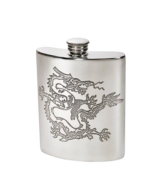 Chinese Dragon Pewter Kidney Hip Flask