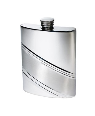 6oz Diagonal Stripe Pewter Kidney Hip Flask